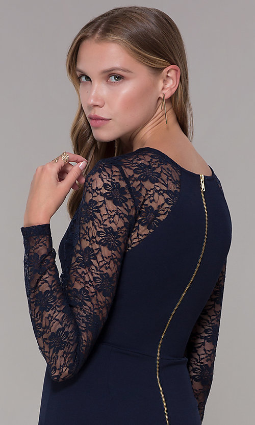 Image of short navy blue party dress with long lace sleeves. Style: EM-FQY-3405-430 Detail Image 2