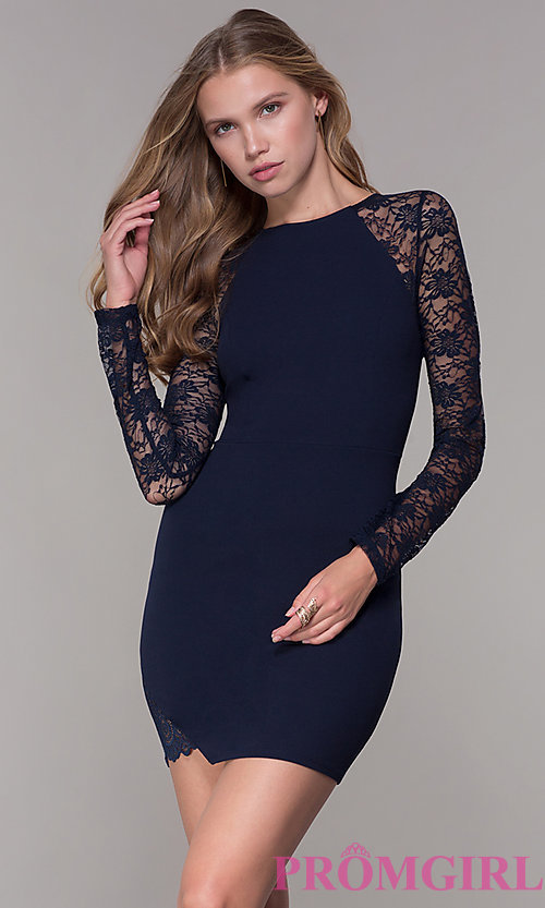 72e1180dc0b6 Image of short navy blue party dress with long lace sleeves. Style: EM-