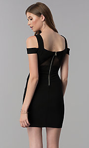 Image of black bandage-style short cold-shoulder party dress. Style: EM-FCX-1027-001 Back Image