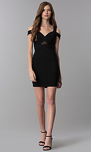 Image of black bandage-style short cold-shoulder party dress. Style: EM-FCX-1027-001 Detail Image 3