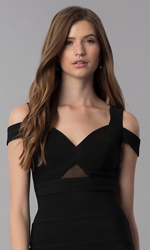Image of black bandage-style short cold-shoulder party dress. Style: EM-FCX-1027-001 Detail Image 1