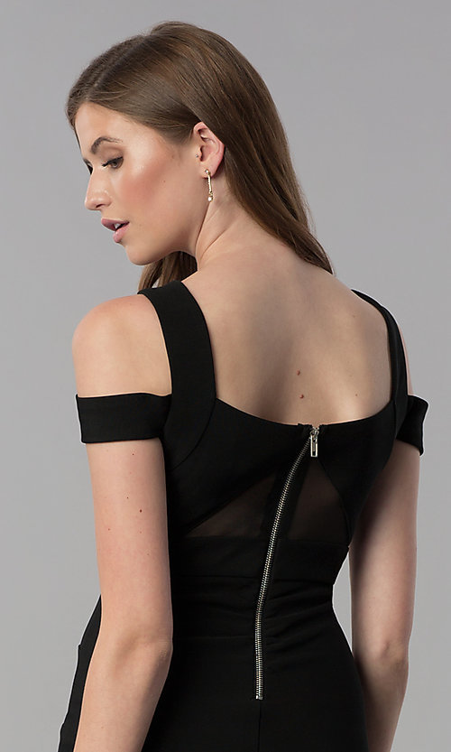 Image of black bandage-style short cold-shoulder party dress. Style: EM-FCX-1027-001 Detail Image 2