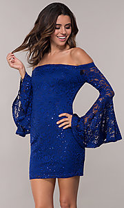 Image of short sheath lace party dress with long bell sleeves. Style: EM-FLH-3822-414 Front Image