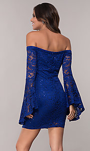 Image of short sheath lace party dress with long bell sleeves. Style: EM-FLH-3822-414 Back Image