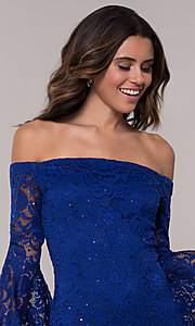 Image of short sheath lace party dress with long bell sleeves. Style: EM-FLH-3822-414 Detail Image 1