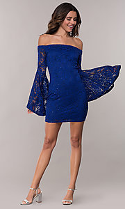 Image of short sheath lace party dress with long bell sleeves. Style: EM-FLH-3822-414 Detail Image 3