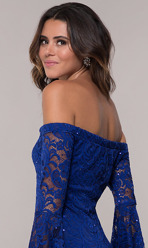 Image of short sheath lace party dress with long bell sleeves. Style: EM-FLH-3822-414 Detail Image 2