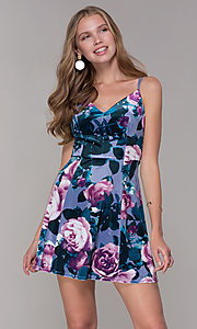Image of short lilac floral-print v-neck party dress. Style: EM-FLU-3817-540 Front Image