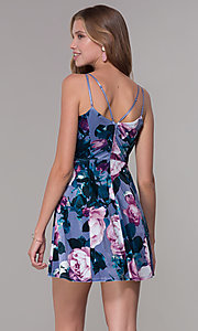Image of short lilac floral-print v-neck party dress. Style: EM-FLU-3817-540 Back Image
