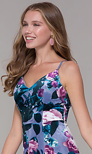 Image of short lilac floral-print v-neck party dress. Style: EM-FLU-3817-540 Detail Image 1