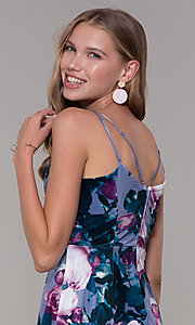 Image of short lilac floral-print v-neck party dress. Style: EM-FLU-3817-540 Detail Image 2