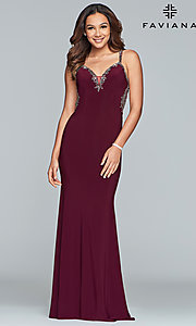 Image of long v-neck open-back Faviana prom dress. Style: FA-S10107 Detail Image 4