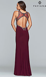 Image of long v-neck open-back Faviana prom dress. Style: FA-S10107 Detail Image 5