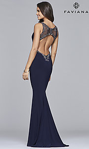 Image of long v-neck open-back Faviana prom dress. Style: FA-S10107 Back Image