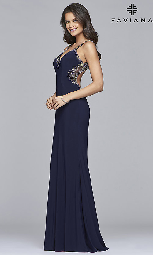 Image of long v-neck open-back Faviana prom dress. Style: FA-S10107 Detail Image 3