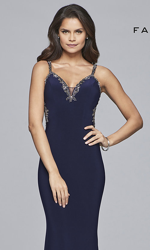 Image of long v-neck open-back Faviana prom dress. Style: FA-S10107 Detail Image 1