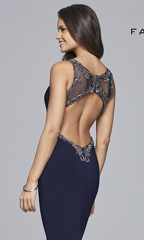 Image of long v-neck open-back Faviana prom dress. Style: FA-S10107 Detail Image 2