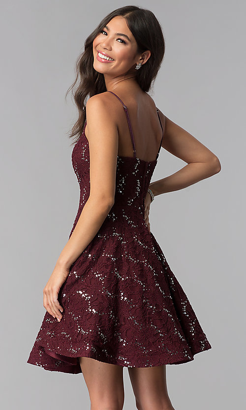 Image of short a-line sequin-lace homecoming dress. Style: SS-D71161HJL Back Image