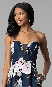 Image of strapless floral-print homecoming dress. Style: SS-D71312QY3 Detail Image 1