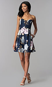 Image of strapless floral-print homecoming dress. Style: SS-D71312QY3 Detail Image 3