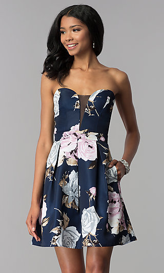 Strapless Floral-Print Homecoming Dress
