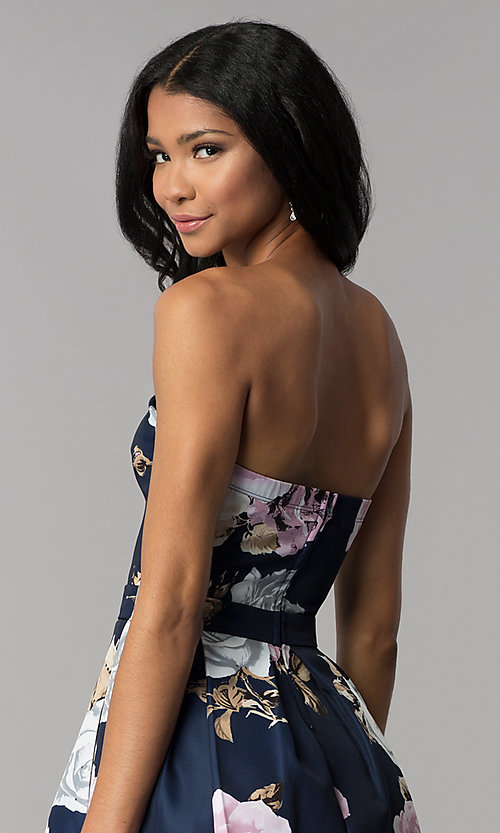 Image of strapless floral-print homecoming dress. Style: SS-D71312QY3 Detail Image 2