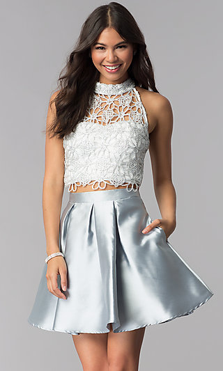 Embroidered-Lace-Top Two-Piece Homecoming Dress