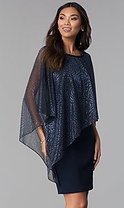 Image of short navy MOB dress with attached sheer lamé cape. Style: SD-S287520 Front Image