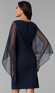 Image of short navy MOB dress with attached sheer lamé cape. Style: SD-S287520 Back Image