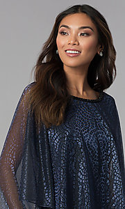 Image of short navy MOB dress with attached sheer lamé cape. Style: SD-S287520 Detail Image 1