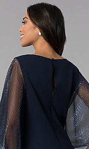 Image of short navy MOB dress with attached sheer lamé cape. Style: SD-S287520 Detail Image 2