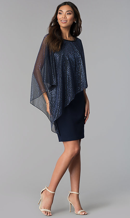 Image of short navy MOB dress with attached sheer lamé cape. Style: SD-S287520 Detail Image 3