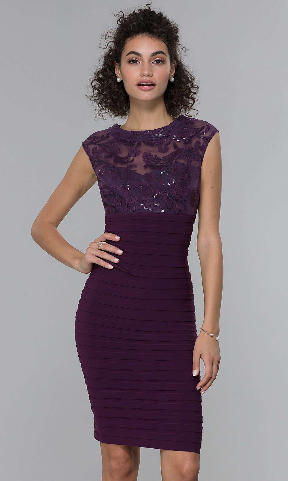 Short Wedding-Guest Embroidered-Mesh Dress - PromGirl