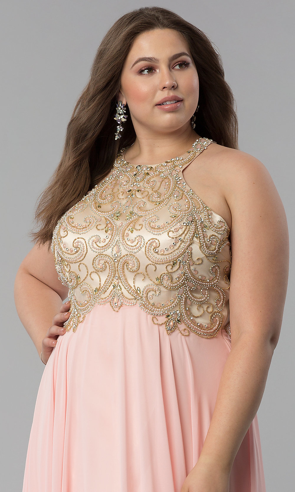 74176d1f454 Image of embellished racerback long plus-size prom dress. Style  DQ-9776P.  Tap to expand