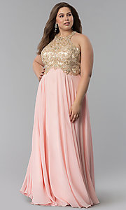Image of embellished racerback long plus-size prom dress. Style: DQ-9776P Front Image