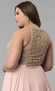 Image of embellished racerback long plus-size prom dress. Style: DQ-9776P Detail Image 2