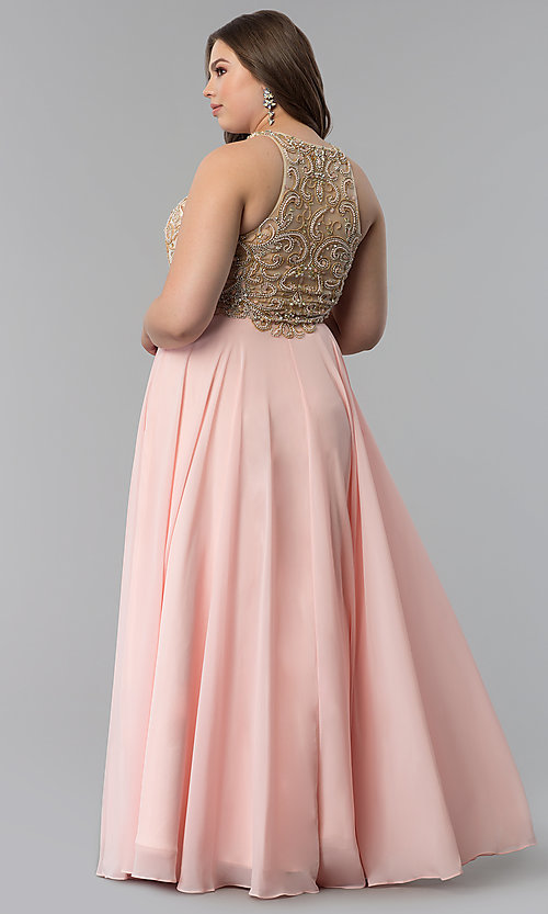 Image of embellished racerback long plus-size prom dress. Style: DQ-9776P Back Image