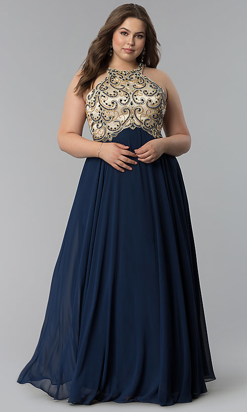 Image of embellished racerback long plus-size prom dress. Style: DQ-9776P Detail Image 3