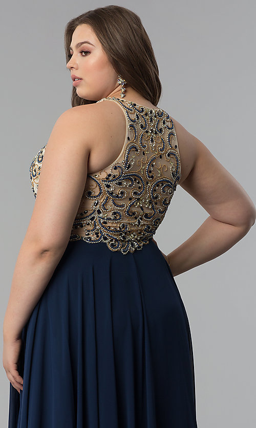 Image of embellished racerback long plus-size prom dress. Style: DQ-9776P Detail Image 6