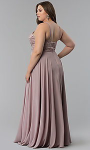 Image of embroidered-bodice long plus-size prom dress. Style: DQ-2092P Back Image