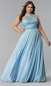 Image of embroidered-bodice long plus-size prom dress. Style: DQ-2092P Detail Image 2