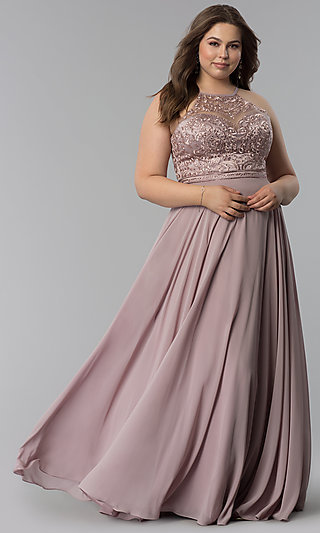 Long Embroidered-Bodice Plus Prom Dress - PromGirl
