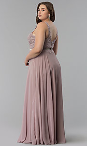 Image of v-neck plus-size chiffon long prom dress. Style: DQ-2161P Back Image