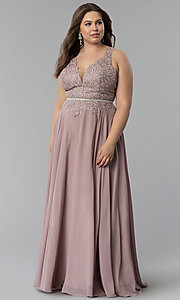 Image of v-neck plus-size chiffon long prom dress. Style: DQ-2161P Front Image