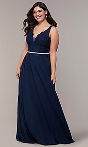Image of v-neck plus-size chiffon long prom dress. Style: DQ-2161P Detail Image 3