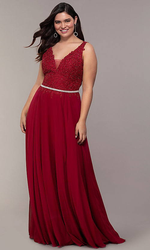 Image of v-neck plus-size chiffon long prom dress. Style: DQ-2161P Detail Image 1