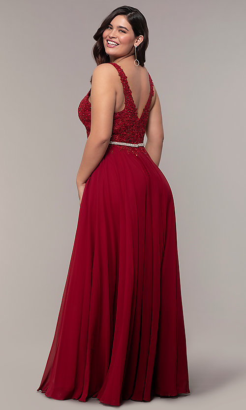 Image of v-neck plus-size chiffon long prom dress. Style: DQ-2161P Detail Image 2