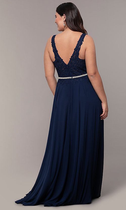 Image of v-neck plus-size chiffon long prom dress. Style: DQ-2161P Detail Image 4