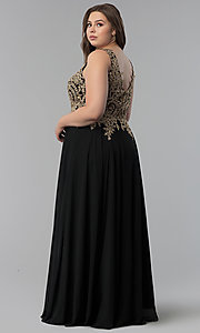Image of long plus-size lace-applique v-neck prom dress. Style: FB-GL2311P Detail Image 4
