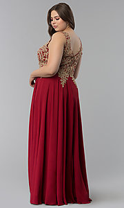 Image of long plus-size lace-applique v-neck prom dress. Style: FB-GL2311P Detail Image 7